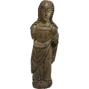 SALE 14th Century Sculpture of a Saint - Gothic Wood Carved Polychrome Figure from Spain