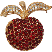 Vintage Festive Apple Brooch with Red & White Rhinestones - Retro Costume Jewelry