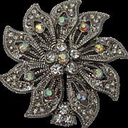 Vintage Festive Flower Brooch with White Rhinestones - Retro Costume Jewelry