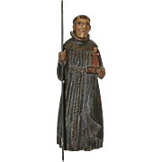 17th Century Sculpture of Saint Anthony of Padua - Wood Carved Polychrome Folk Art Figure from