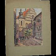 SALE 1910's Original Art Nouveau Ink & Pastel & Watercolor Drawing of City scene in Lublin ...