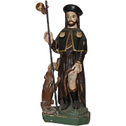 19th Century Sculpture of Saint Roch / Rock - Wood Carved Polychrome Folk Art Figure of St ...