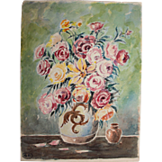 SALE 1920's Impressionism Still Life by Franz Brantzky / Aquarelle Watercolor Painting from ..