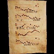 15th Century Illuminated Gregorian Chant Manuscript Page / Renaissance Sheet Music