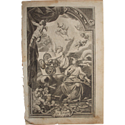 SALE Rare 18th Century Copper Engraving of an Angel explaining the New Testament to a ...