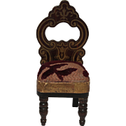 SALE 19th Century Doll House Upholstered Balloon Back Chair with Baroque Floral Patterns