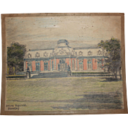 1920's Original Pencil & Pastel Drawing of Benrath Palace in Düsseldorf Germany by Franz ...