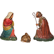 SALE Original Antique South Italian & Neapolitan Creche Figures - Jesus Christ / Mary / Joseph