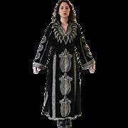 SALE Vintage Black Velvet Metallic Embroidered Caftan Maxi Dress