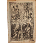 Rare 18th Century Copper Engraving of The Important Persons from the Historical Books of the .