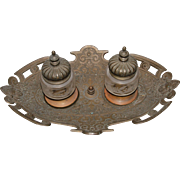 19th Century Belle Epoque Inkwell Bronzed Metal, Brass & Cut Crystal