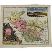 SALE Decorative 17th Century Map of Merseburg including Leipzig & Halle (Pieter Schenk)