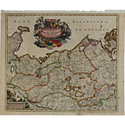SALE Beautiful 17th Century Antique baroque map of Northern Germany by Frederick de Witt