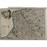 SALE 17th Century Antique map of North East France / Artois including Calais - by Visscher N .