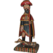 18th Century Sculpture of Saint Roch / Rock - Wood Carved Polychrome Folk Art Figure of St ...