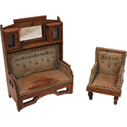 SALE Art Nouveau German Wooden And Silk Furnishing Set circa 1910