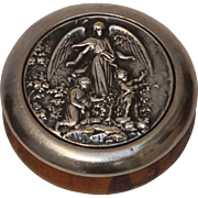SALE 19th Century Snuff Box with Angel and Children - Silver plate & Wood
