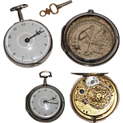 SALE 1796 Sterling Silver Paircase Verge Pocket Watch by And Bateman from London