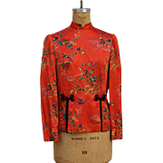 SALE Vintage 1970s Asian Ethnic Orange Crane Flower Blouse