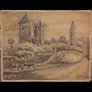SALE 1920's Original Art Nouveau Pencil Drawing of Uckerath, Germany by Franz Brantzky