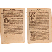 16th Century Woodcuts of the Roman Emperors Julius Caesar, Augustus & Claudius - Book page of