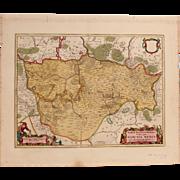 SALE 17th Century Map of the Mittelmark in Brandenburg, Germany (F. de Witt)