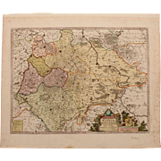 SALE Baroque map of Saxony, Germany by P.Mortier in circa 1700