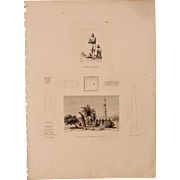SALE Antique Print of Saint-Athanase Mosque, Pompey's Pillar, Cleopatra's Needle & an Egyptian