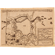 SALE 17th Century Map of the Fortification of Ostend (Belgium) during the Siege of Ostend ...