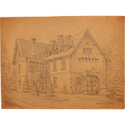 1920's Original Art Nouveau Pencil Drawing of the Hunting House in Wülfrath in Germany ...