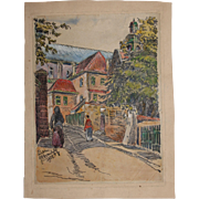 1910's Original Art Nouveau Ink & Pastel & Watercolor Painting of City scene in Lublin by ...