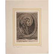 "17th Century Copper Engraving of ""Jesus Amabillis"""