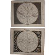 Set of Two 1850's Original Antique steel engravings - Southern & Northern Map of the Stars