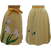 Vintage 1970s yellow wrap skirt with applique by Alfredo's Wife