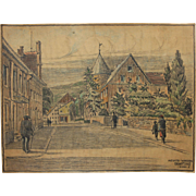 1910's Original Art Nouveau Charcoal and Pastel Painting of a street scene on Heckstreet ...