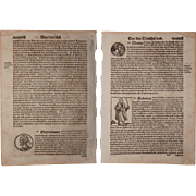 16th Century Woodcut of Emperors of the Holy Roman Empire - Book page of Cosmographia  ...