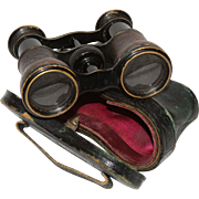 Victorian French Opera Glasses / Binoculars in Brass & Leather with Original Leather Case
