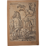SALE 16th Century Original Old Master Woodcut - Saint Eustace (Entourage of Albrecht Dürer)