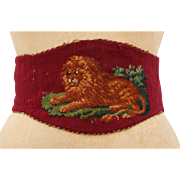 SALE Victorian Needle Point Waist Belt Red Wool & Leather featuring a Lion 19th Century Antiqu