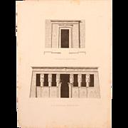 SALE Antique Print of the portals of the Dendera Temple (Tentyris) complex - Original Copper .