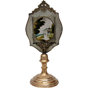 SALE 19th Century Reverse Glass Painting / Lithopane on amazing Brass and Metal Stand