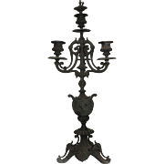 18th Century Pair of Rococo Bronze Candelabras / Candlesticks with Enamel and Gilt