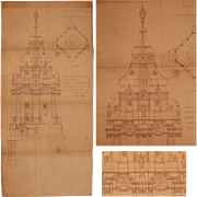 Belle Epoque 19th Century Original Blueprint of the Court House Berlin Mitte by Otto Schmalz