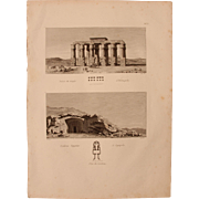 SALE Antique Print of the Temple of Hermopolis and Egyptian Tombs of Lycopolis - Original ...
