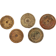 SALE Set of 5 Medieval Buttons from Iberian Peninsula - Bronze & Brass