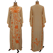 Vinatge 1970s Caftan Dress with Flower Embroidery