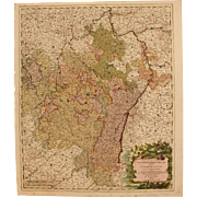 SALE 18th Century Map showing the course of the Rhine River including Strasbourg, Cologne and