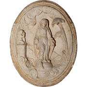 19th Century Carved Meerschaum Relief of Virgin Mary / Our Lady Crushing the Serpents Head - .