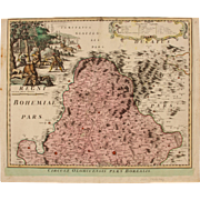 SALE 18th century map of the Olomouc Region (Czech Republic) by Johann Baptist HOMANN 1720