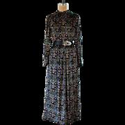 Vintage 1970s Winter Garden Velvet Maxi Dress